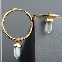 Rock Crystal Drop Hoop Earrings