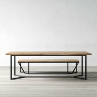 London Solid Live Edge Oak Industrial Dining Table