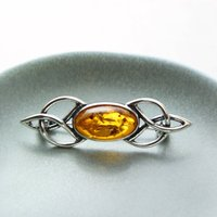 Baltic Amber Celtic Brooch