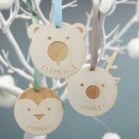 Personalised Winter Animal Christmas Tree Decoration