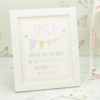 Personalised Bunting Baby Framed Print, Pink/Blue