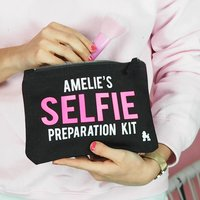 Selfie Preparation Kit Make Up Bag Personalised, Black/Cream