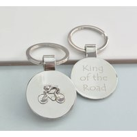 Personalised Cyclist Round Keyring