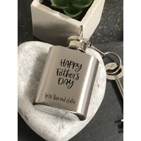 Personalised Mini Hip Flask Fathers Day Keyring