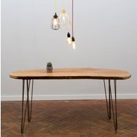 Raw Edge Wooden Hairpin Leg Dining Table