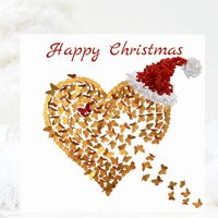 Gold Butterfly Christmas Card Pack, Christmas Heart