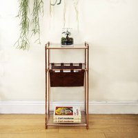 Handmade Console Table In Copper With Magazine Holder