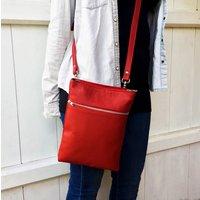 Red Leather Marldon Zipper Cross Body Bag