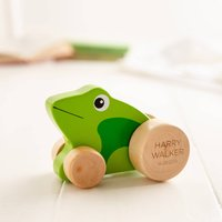 Personalised Push Along Wooden Frog Toy