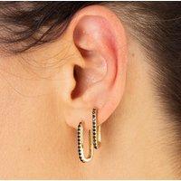 Oval Huggie Hoop Earrings With Black Stones