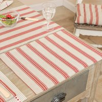 Four French Country Style Red Stripe Cotton Placemats