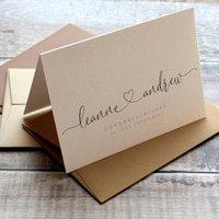 Heart Script Personalised Engagement Wedding Card