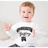 Personalised Big Brother/ Sister T Shirt, Black/White/Grey