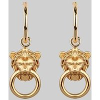 Mini Lion Head Knocker Earrings In Silver Or Gold, Silver