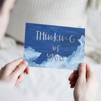 Clouds 'Thinking Of You' Foil Illustrated Card