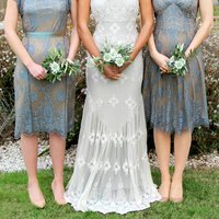 Bespoke Lace Bridesmaid Dresses In Blue Pearl, Blue