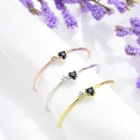 Double Stone Thin Ring Cz 925 Silver Yellow Rose Gold, Silver