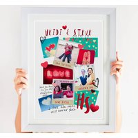 Couple's Photo Collage Print In Bright Colours