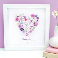 Personalised 40th Birthday Button Heart, Bright Pink/Pink/Purple