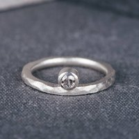 9ct White Gold Offset Engagement Ring With Diamond, Gold