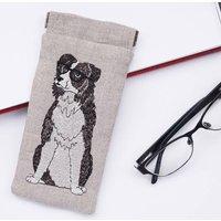 Embroidered Border Collie Glasses Case