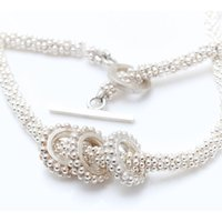 Silver Beaded Necklace With Three Beaded Rings, Silver