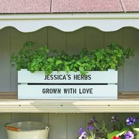 Personalised Window Box Crate With Herb Seeds, Silver/Ivory/Pink