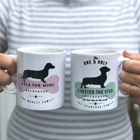 Dachshund Dog Owners Mug And Tableware, Blue/Rose Pink/Rose
