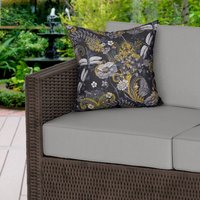 Dragonfly Dark Floral Water Resistant Outdoor Cushion