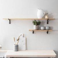 Oak Shelf With Cast Iron Brackets
