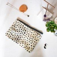Polka Dot Spot Print Pony Hair Clutch Bag