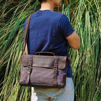 Personalised Canvas Messenger Bag, Khaki/Green/Brown