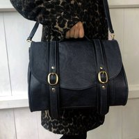 Black Leather Brix Bag