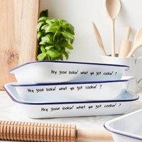 Personalised Message Enamel Baking Tray