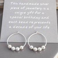 40th Birthday Silver Bead Earrings, Silver