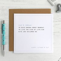 Dad's Dream, Funny Father's Day Card