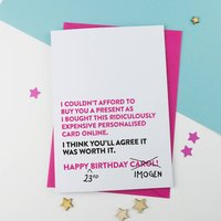 Funny Personalised Birthday Card Pink, Pink