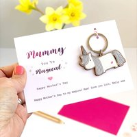 Unicorn Keyring Mother's Day Card