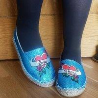 Love Shoes Blue Glitter Pumps, Blue