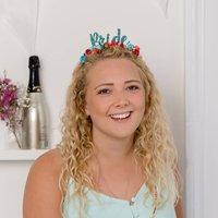 'Bride' Hen Party Colourful Floral Crown, Turquoise/Sky Blue/Blue