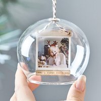 Personalised Baby's First Christmas Photo Dome Bauble