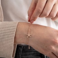 Rose Gold Plated Sterling Silver Starfish Bracelet, Silver