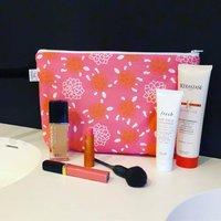 Pink Turtles Cotton Makeup Bag