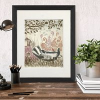 Country Lane Badger No1 Art Print, Multi Cols Available
