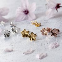Jasmine Flower Sterling Silver Studs Customisable Card, Silver
