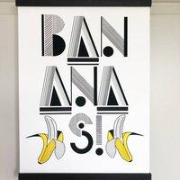 Bananas Linear Typographic Print
