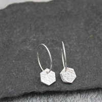 Silver Hexagon Charm Hoops, Silver