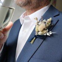 'Oxford Blue' Dried Flower Buttonhole