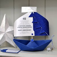 45th Sapphire Wedding Anniversary Paper Sail Boat Card