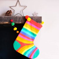Personalised Rainbow Stripe Christmas Stocking